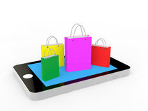 3d cellphone and shopping bags. 3d render of cellphone and shopping bags Royalty Free Stock Image