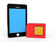 3d cellphone and SIM card Royalty Free Stock Images