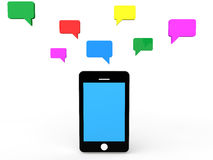 3d cellphone and talk bubbles Stock Images