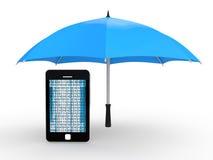 3d cellphone under umbrella Royalty Free Stock Photo