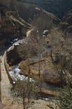 28 d?cembre 2013 Albarracin, Teruel, Aragon, Espagne Rio Guadalaviar Seen From El Alcazar Histoire, voyage, nature, paysage, photo libre de droits