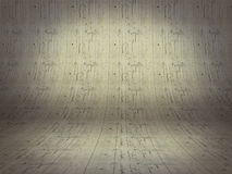 Realistic 3D presentation empty room - floor cement background  Royalty Free Stock Photo