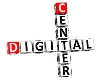 3D Center Digital Crossword. On white background Royalty Free Stock Image