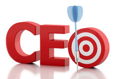 3d CEO word with red target. Business concept. Royalty Free Stock Images