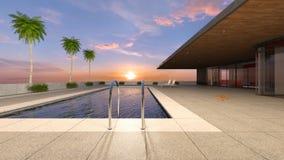 3D CG die of residence met pool teruggeven stock afbeelding