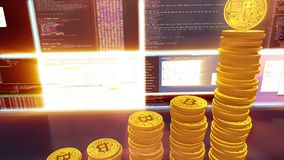 3D cg of mining bitcoins with moving camera, red. 3D camera moves around bitcoins. CG animation of the process of computing data for mining bitcoins and other royalty free illustration