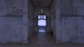 3D CG rendering of Abandoned hallway.  stock illustration