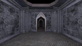 3D CG rendering of Abandoned hallway.  royalty free illustration