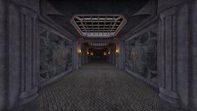3D CG rendering of Abandoned hallway.  vector illustration