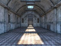 3D CG rendering of Abandoned plcaes hallway.  vector illustration