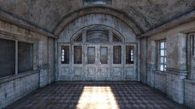 3D CG rendering of Abandoned plcaes hallway.  royalty free illustration
