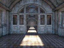 3D CG rendering of Abandoned plcaes hallway.  stock illustration