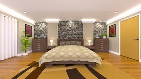 Bed room. 3D CG rendering of the bed room Stock Photos