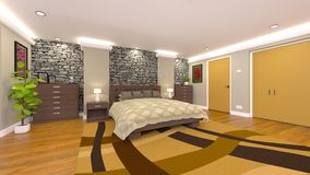 Bed room. 3D CG rendering of the bed room Royalty Free Stock Images