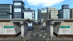 Collapse highway. 3D CG rendering of the collapse highway Stock Photography