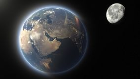 Earth and moon. 3D CG rendering of the earth and moon royalty free stock photography