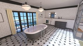 Bathroom. 3D CG rendering of the fancy bathroom Stock Image