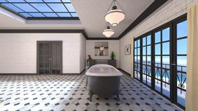 Bathroom. 3D CG rendering of the fancy bathroom Stock Photos