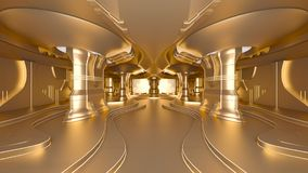 Space station. 3D CG rendering of the golden space station Stock Photos