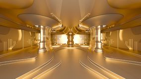 Space station. 3D CG rendering of the golden space station Stock Photo