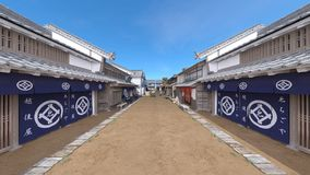 Japanese castle town. 3D CG rendering of the Japanese castle town Royalty Free Stock Photo