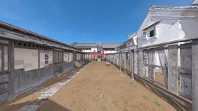 Japanese castle town. 3D CG rendering of the Japanese castle town Stock Photography