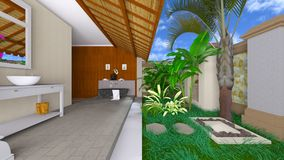 Oriental bathroom. 3D CG rendering of the oriental bathroom Royalty Free Stock Images