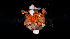 Planet explosion. 3D CG rendering of the planet explosion Royalty Free Stock Photo