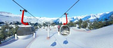 Ski resort. 3D CG rendering of the ski resort Stock Photography