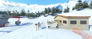 Ski resort. 3D CG rendering of the ski resort Royalty Free Stock Image
