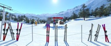 Ski resort. 3D CG rendering of the ski resort Royalty Free Stock Photos