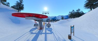 Ski resort. 3D CG rendering of the ski resort Stock Image