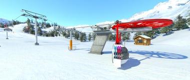 Ski resort. 3D CG rendering of the ski resort Stock Photos