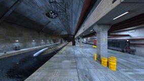 Submarine dock. 3D CG rendering of the submarine dock Royalty Free Stock Photos