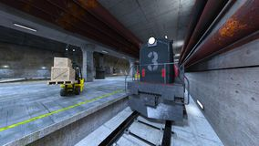 Submarine dock. 3D CG rendering of the submarine dock Royalty Free Stock Images