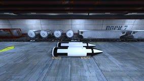 Submarine dock. 3D CG rendering of the submarine dock Stock Image