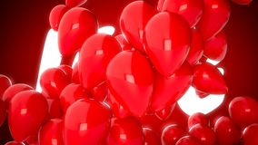 3D CGI video of red balloons flying over word love. Perfect animation for Valentines day. 3D CGI footage of red balloons flying over word love. Perfect video for stock footage