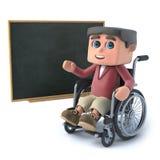3d chłopiec w wózku inwalidzkim przy blackboard Fotografia Royalty Free