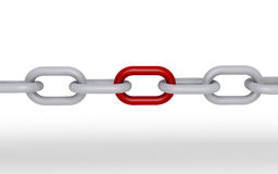 Chain with one unique part. 3d chain and one part is red Royalty Free Stock Image