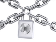 3d Chain with padlock. Security concept. Stock Photos
