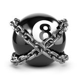 3d Chained 8 ball. 3d render of an 8 ball wrapped in chain Stock Image