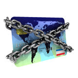 3d Chained debit card. 3d render of a debit card wrapped in chains Stock Images