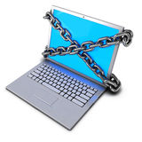 3d Chained laptop Stock Photography