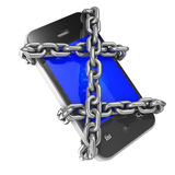 3d Chained smartphone Royalty Free Stock Photos