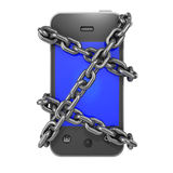 3d Chained smartphone Stock Image