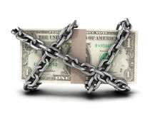 3d Chained US Dollar bills Royalty Free Stock Image