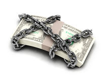 3d Chained US Dollars. 3d render of a stack of US Dollars wrapped in chain Royalty Free Stock Image