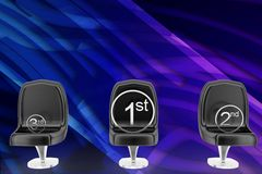 3d chair different positions illustration Stock Photos