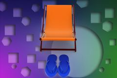 3d chair and slipper illustration Royalty Free Stock Photos