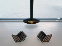 3d chairs near fireplace Royalty Free Stock Photo